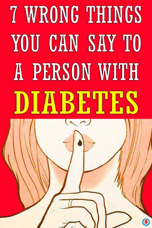 An illustration of a woman with her finger over mouth with text overlay - 7 Wrong Things You Can Say To A Person With Diabetes.